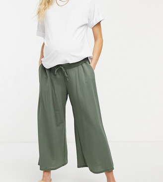 ASOS DESIGN Maternity linen look culotte trouser in khaki