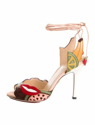 Charlotte Olympia Suede Printed Sandals w/ Tags Pink