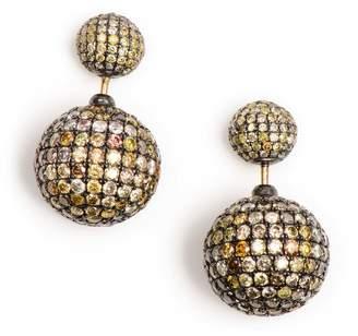 Artisan 14K Gold & Silver & Pave Diamond Beads Tribal Front & Back Earring