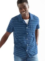 Gap Denim shibori dot standard fit short sleeve shirt