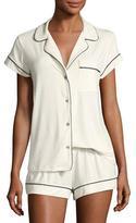 Eberjey Gisele Boxer-Short Pajama Set, Ivory