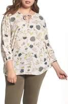 Caslon Plus Size Women's Floral Print Tie-Neck Top