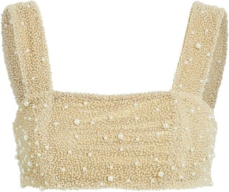 Sara Cristina Mare Beaded Crop Top