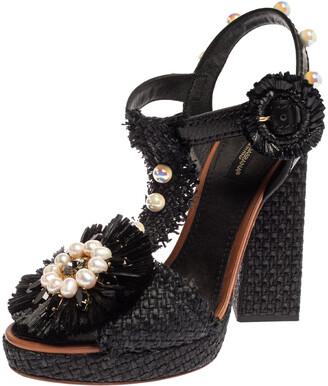 Dolce & Gabbana Black Raffia Pearl Embellished T Strap Platform Sandals Size 38