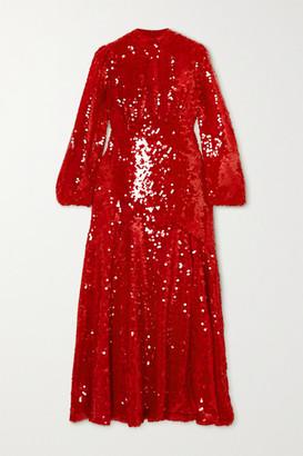 De La Vali Clara Sequined Crepe Midi Dress - Red