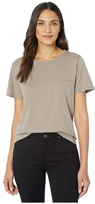 Lilla P Short Sleeve Pocket Tee in Pima Jersey (Driftwood) Women's Clothing