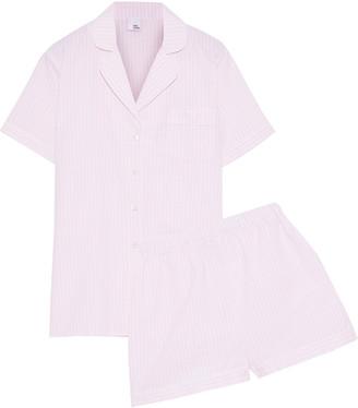 Iris & Ink Karitas Striped Cotton-seersucker Pajama Set