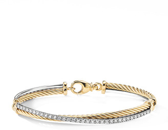 David Yurman Crossover Bracelet in 18k Gold with Diamonds, Size M