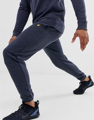 Lyle & Scott Fitness fleece lined joggers in navy marl