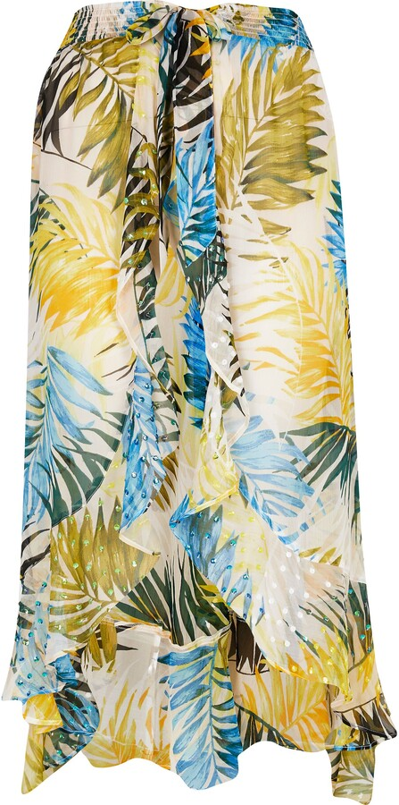 Thumbnail for your product : River Island Womens Plus Blue leaf print maxi beach skirt