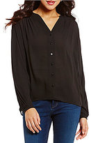 NYDJ Pleated Front Split V-Neck Long Sleeve Solid Blouse