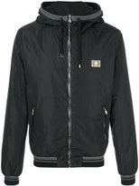Dolce & Gabbana crown logo plaque jacket - men - Leather/Polyamide - 46