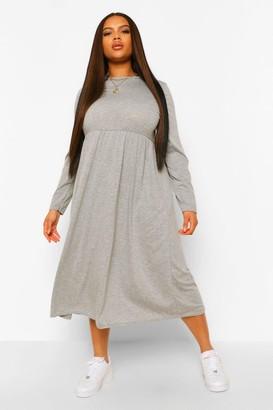 boohoo Plus Long Sleeve Midi Smock Dress