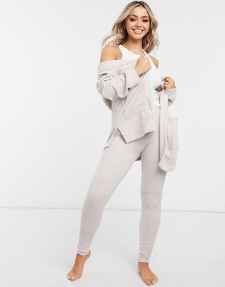 DKNY super soft knitted lounge cardigan and legging set in oatmeal