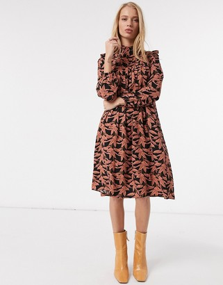 Y.A.S smock dress with high neck in black and rust floral
