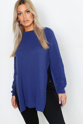 boohoo Plus Side Split Moss Stitch Tunic Sweater