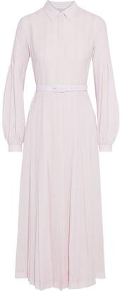Gabriela Hearst Chelsea Belted Wool And Cashmere-blend Gauze Midi Shirt Dress