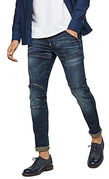 G Star 5620 3-d Zip Knee Skinny Fit Jean in Wave Destroyed