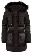 Supertrash Black Quilted and Tweed Panel Coat