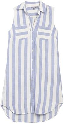 Sharagano Sleeveless Stripe Shirt Dress (Petite)