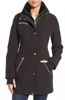 Jessica Simpson Women's Faux Fur Trim Soft Shell Jacket With Inset Vest