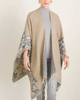 Chico's Chicos Floral-Border Fringed Blanket Ruana Wrap