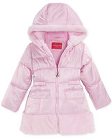 London Fog Satin & Faux-Fur Hooded Puffer Jacket, Little Girls (2-6X)