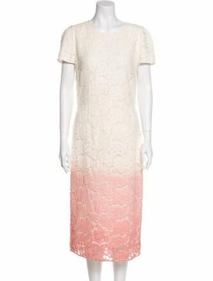 Burberry Lace Pattern Midi Length Dress White