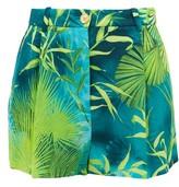 Versace Jungle-print Crepe Shorts - Womens - Green Print