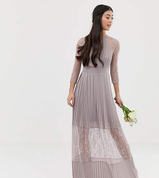 TFNC Petite Petite bridesmaid exclusive pleated maxi dress with lace insert in grey