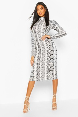 boohoo Snake Print Turtle Neck Midi Dress