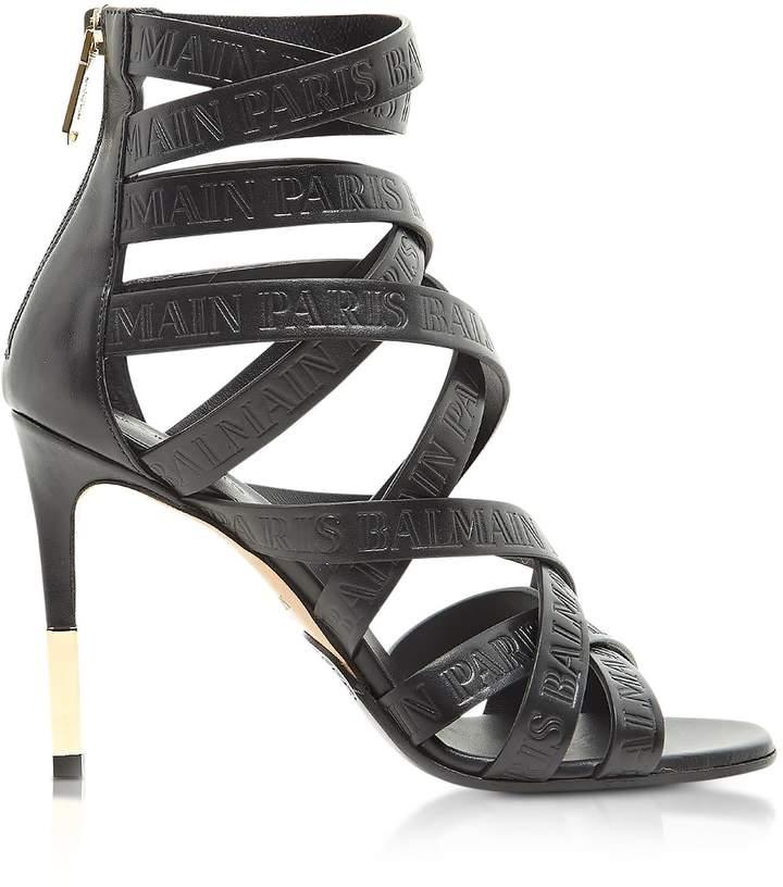 Balmain Charlotte Black Embossed Leather High Heel Sandals