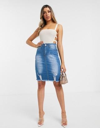 I SAW IT FIRST distressed hem denim mini skirt-Blue
