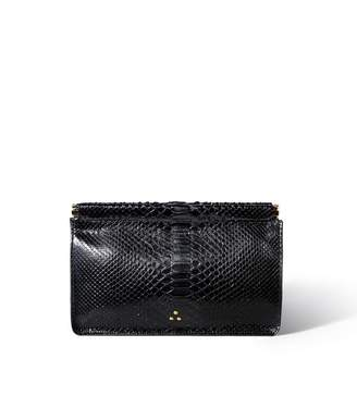 Jerome Dreyfuss Clic Clac Large Clutch in Noir Python