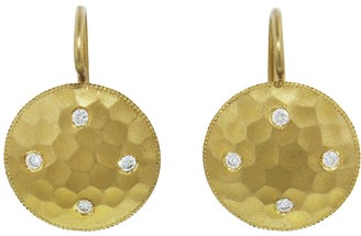 Cathy Waterman Hammered Disc Earrings with Diamonds - 22 Karat Gold