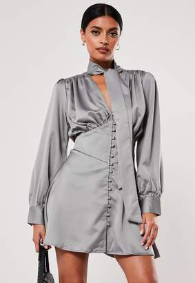 Missguided Grey Button Down Pussy Bow Satin Mini Dress