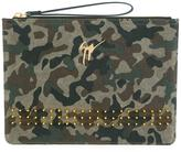 Giuseppe Zanotti Design Margery camouflage studded clutch - women - Cotton/Leather/metal - One Size