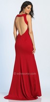Dave and Johnny Dramatic Open Back Ruched Trumpet Evening Dress