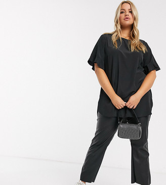 New Look Curve frill sleeve tee in black
