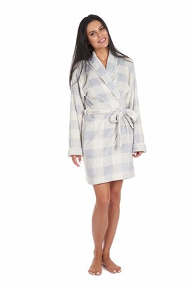 Cherokee Women's Luxury Plush Robe Mid-Length Bathrobe with Pockets