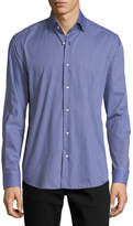 Neiman Marcus Gingham Long-Sleeve Sport Shirt, Light Blue