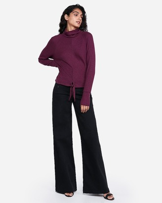 Express Cozy Fitted Mock Neck Tie Hem Top
