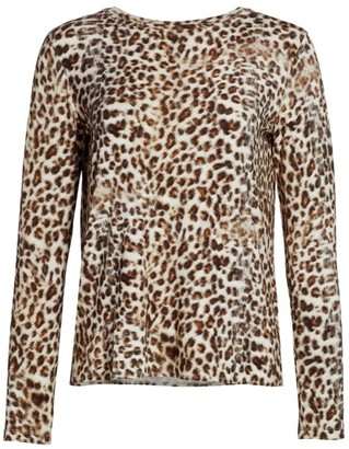 Majestic Filatures Animal Print Cashmere-Blend Top