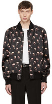 Saint Laurent Black Flamingo Teddy Bomber Jacket