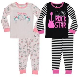 Sol Sleep Girls Cotton 4-Piece Tight Fit Pajama Set Sizes 5-7