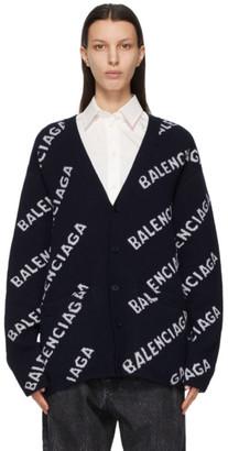 Balenciaga Navy Allover Logo Cardigan