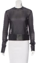 David Koma Leather-Trimmed Mesh Top