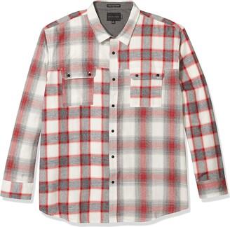 Sean John Men's Long Sleeve Button Up Contrast Plaid Shirt