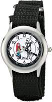 Disney Kids' W000453 Jack and Sally Stainless Steel Time Teacher Black Velcro Strap Watch