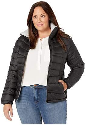 YMI Jeanswear Snobbish Plus Size Reversible Puffer Jacket (Black/Silver) Women's Clothing